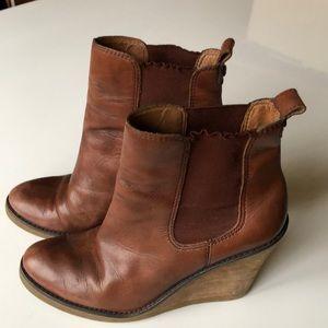 Lucky Brand brown leather wedge boots